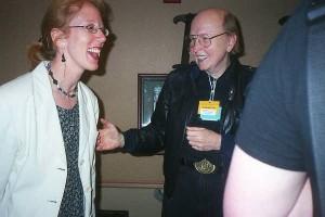 Panelists share a laugh